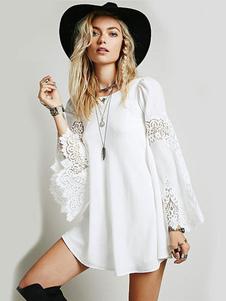 Image of Vestito corto donna bianco monocolore con scollo tondo maniche lunghe maniche larghe in chiffon casuale