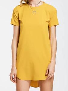 Robe d'été jaune en chiffon unicolore avec noeud col rond