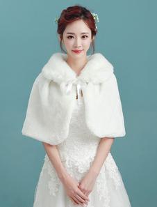 Image of Coprispalle per la sposa avorio accessori con annodature con col