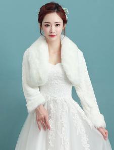 Image of Coprispalle da sposa avorio accessori con colletto maniche lunghe ampie maniche pelliccia angolana