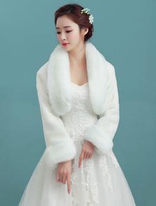 Image of Coprispalle da sposa accessori avorio pelliccia angolana con colletto ampie maniche maniche lunghe