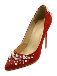 Exquises chaussures à talons à talons aigus en cuir unicolore mocassin avec perles en peau de mouton