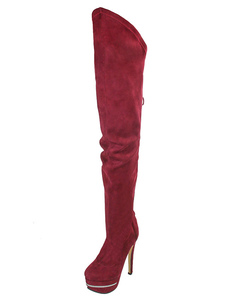 Over Knee Boots Burgundy High Heel Round Toe Stiletto Faux Fur Nubuck Women's Winter Boots