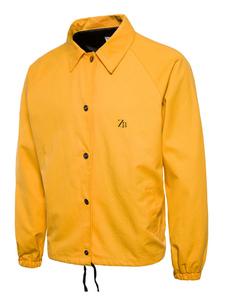 Amarillo Hombres cortavientos de manga larga Turndown Collar letras Imprimir chaqueta corta Barbour