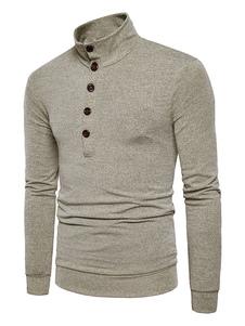 Image of Pullover da uomo casuale monocolore cotone misto abbigliamento giornaliero con collo alto maniche lunghe casuale