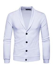 Image of Cardigan monocolore abbigliamento da uomo giornaliero casual cotone misto