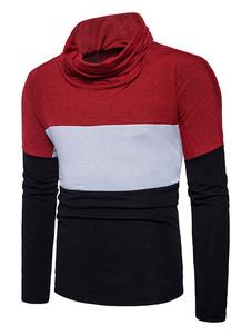 Image of Pullover casuale con blocchi di colore cotone misto abbigliamento giornaliero con collo alto maniche lunghe casuale