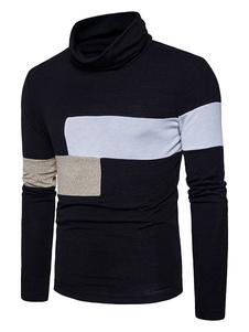 Image of Pullover da uomo casual con blocchi di colore abbigliamento giornaliero con collo alto maniche lunghe casuale