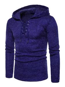 Image of Pullover da uomo comodo monocolore cotone misto abbigliamento giornaliero incappucciato maniche lunghe casuale
