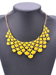 Boho declaración collar de estilo étnico hoja de forma Jeweled mujeres de estilo amarillo collar
