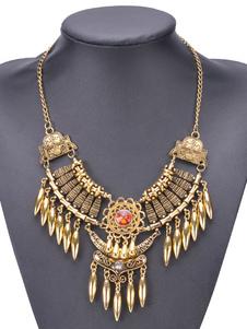 Image of Collana argento della collana di dichiarazione annata Particolari del gemma delle gemme del jeweled Collana dorata stile etnico impresso