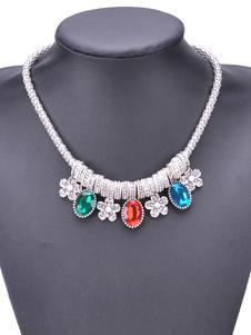 Boho declaración collar de piedras preciosas joyas joyas flor de las mujeres del partido collar