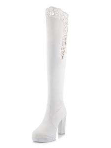 Blanco sobre las botas de la rodilla de tacón alto del dedo del pie de las mujeres resbalón en las botas altas del muslo
