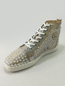 Image of Sneaker glitterato Estate Decolletè rotondo uomo con rivetti argento pelle casuale