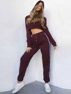 Image of Tailleur cotone misto filo elastico a strisce pantaloni top 2-Pe