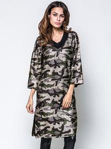 Magnifique robe droite casual en polyester camouflage fendu col V