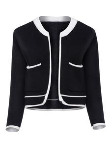 Image of Cardigan nero casual in lana mista abbigliamento giornaliero bicolore tasche
