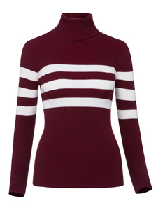 Image of Maglione borgogno abbigliamento giornaliero a strisce casual in lana mista con collo alto maniche lunghe