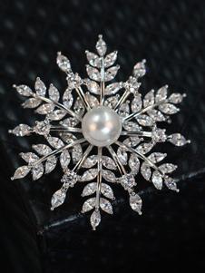 Image of Spilla argenta in lega d'acciaio perle strass elegante & lussuosa festa donna