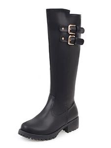 Black Mid Calf Boots Botas de invierno abotonadas de tacón PU de tacón grueso de las mujeres