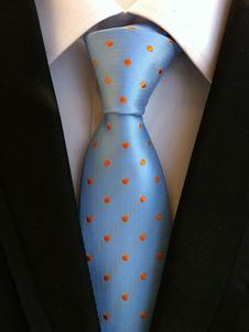 Image of Cravatta abito formale a pois azzurra con stampe di poliestere