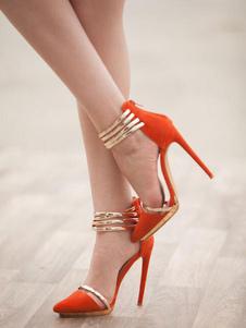 Image of Scarpe con tacchi alti arancioni nubuck bicolore tacco a fino 12cm a punta donna