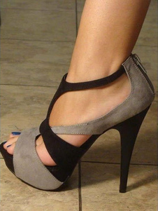 Image of Grey Sandal Shoes Stiletto Heel Peep Toe Two Tone Faux Suede San