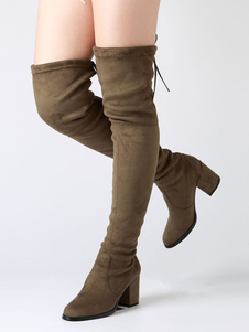 Over The Knee Boots Chunky Heel Round Toe Suede Slip On Atrovirens Thigh High Boots For Women
