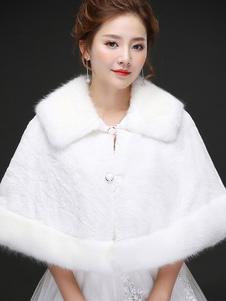 Image of Coprispalle da sposa avorio accessori bottoni in pelle con colletto finta pelle