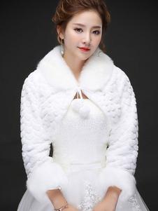 Image of Coprispalle da sposa avorio maniche lunghe ampie maniche con colletto con pendenti accessori