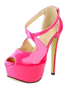 Image of Sandali sexy rosei 4cm a punta aperta pU tacco a fino chic & mod