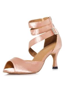Pratiques chaussures de danse latine en satin peep-toe