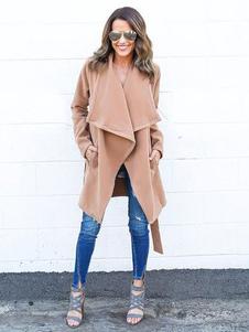 Abrigo de invierno de manga larga con cuello en V manga larga Tanga de color marrón claro