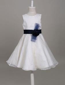 robe cortège enfant à bas prix A-ligne col rond avec ceinture sans manches et doublure longueur genou en organza détail zip Suppliers