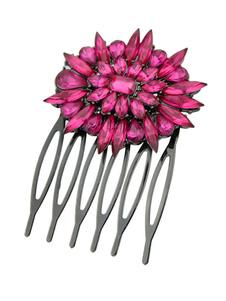 Image of Acconciatura capelli rosea artistico con cristalli forcina chic & moderna fuori in lega d'acciaio
