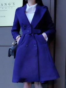 Image of Cappotto snellente chic & moderno monocolore di poliestere cintura