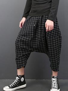 Pantalons chic style sarouel en polyester noir écossais