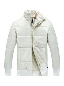 Abrigo acolchado con capucha y mangas largas para hombres Abrigo acolchado y mangas largas con cuello alto y mangas largas en color blanco