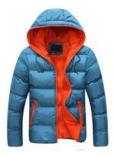 Abrigo acolchado con cremallera de manga larga con capucha y capucha de invierno azul para hombre