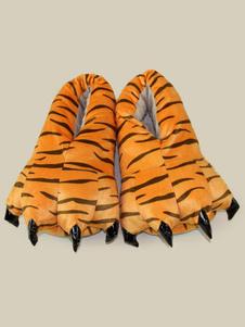 Accessoires de costume de pyjama d'animaux de Toussaint automne pour enfants unisexe en flanelle Chaussures en flanelle blanche