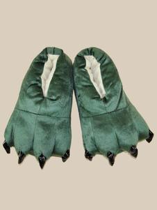Accessoires de costume pyjama d'animaux de Toussaint automne pour enfants unisexe en flanelle Chaussures en flanelle noire