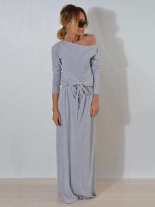 Image of Abito lungo da donna a maniche lunghe grigio con maniche lunghe con coulisse e coulisse
