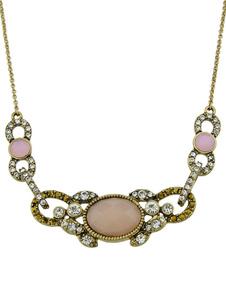 Image of Collana dorata dell'annata delle donne della lega del Rhinestone della pietra preziosa del pendente della collana
