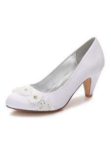Belle chaussure de mariée en soie et satin à talons épais avec fleur Escarpin