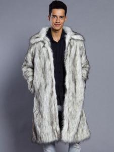 Abrigo Blanco de cuello vuelto Color liso De piel sintética Estilo moderno Otoño