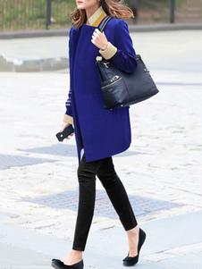 Image of Tailleur casuale blu chic & moderno abbigliamento giornaliero bicolore tweed tasche con intaglio a V maniche lunghe