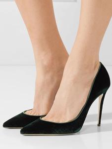 Image of Scarpe da sera pompe verde ardesia scure festa donna tacco a fino 12cm a punta