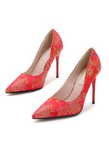 Chaussures à talons à talons aigus en demin jacquard mocassin en peau de porc