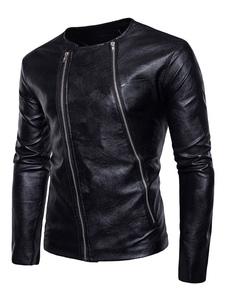 Abrigo Chaqueta 2018 de Hombre Negro motocicleta Escote Redondo Mangas Largas Zip Up Chaqueta de Hombre