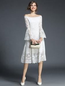 Image of Abiti in pizzo chic & moderni donna maniche lunghe con spalle sc